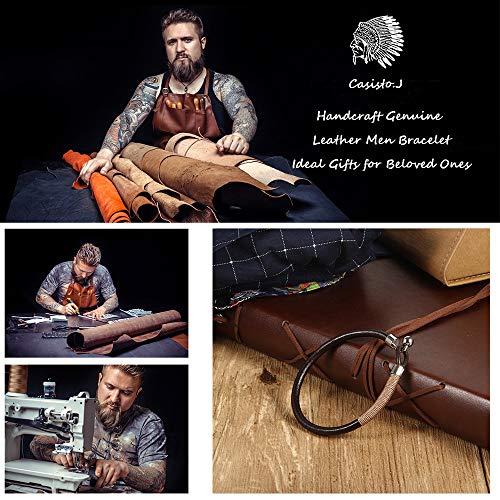 Imagen de casisto.j pulsera de cuero para hombre pulsera negra cuentas de acero inoxidable con cuerda de nylon marrón 19  alternativa