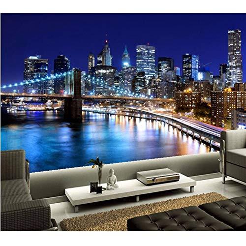 Lsfhb 3D Wallpaper New York City Schöne Nacht Gebäude Und Brücke Unter Dem Bunten Licht Wohnzimmer Tv Wand Schlafzimmer Große Wandbilder-200X140Cm