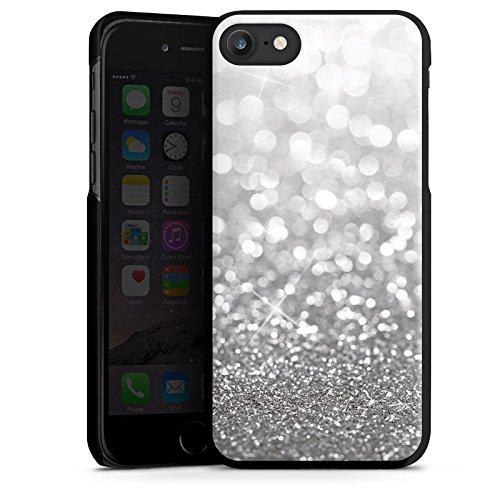 Apple iPhone 6s Tasche Hülle Flip Case Silber Glitzer Glitter Hard Case schwarz