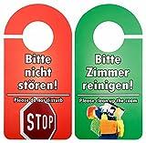 25 Stück Türschild Hotel Bitte nicht stören - Zimmer aufräumen rot/grün