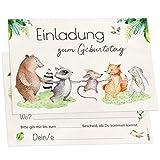 12 Einladungskarten Tierfreunde Kindergeburtstag Kinder Party Geburtstag-Einladungen Zum ausfüllen (Jungen/Mädchen)