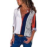 Quaan Herbst Damen Beiläufig Büro Lange Ärmel Farbe Block Streifen Taste T-Shirts Oberteile Bluse V-Ausschnitt Sexy Bluse Baumwolle Leinen- Party Hemd Outwear Mantel Sweatshirt (L, Mehrfarbig)