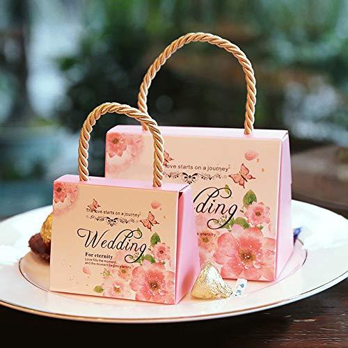 Lvcky, set da 30 scatole per confetti, motivo floreale, per bomboniere da matrimonio, con manico, in carta, decorative pink(pink )