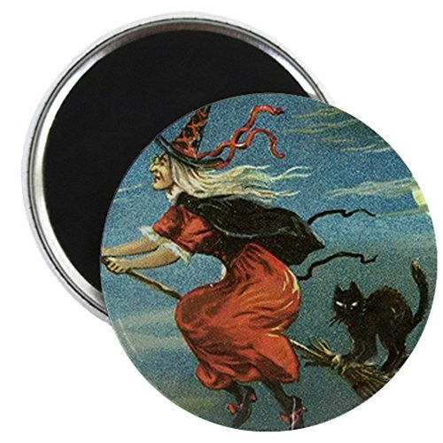 CafePress - Vintage Halloween Hexe SQ Magnet - 5,7 cm runder Magnet, Kühlschrankmagnet