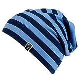 Markenlos Jerseybeanie Jungen Marine/Jeansblau Gestreift Kindermütze Beanie Sommermütze 87696 (45 cm / 47 cm)