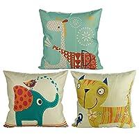 Luxbon Set of 3 pcs Lovely Animal Cushion Cover 45cmx45cm Elephant Cat Giraffe Cotton Linen Throw Pillow Case Scatter Pillows Children Window Seat Cushions Case 18x18 for Kid