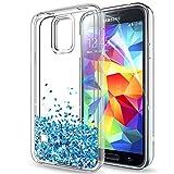 LeYi Hülle Galaxy S5 Glitzer Handyhülle mit HD Folie Schutzfolie,Cover TPU Bumper Silikon Flüssigkeit Treibsand Clear Schutzhülle für Case Samsung Galaxy S5 Handy Hüllen ZX TS Blau
