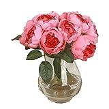 URSING 1 x 6 Blumen-Köpfe Künstliche Pfingstrose Seiden Blumen Blatt Künstlich Blumen Pfingstrosen Künstliche Blume Blumenstrauß Für Hochzeit Party Fest Haus Büro Bar Dekor Wohnaccessoires (Pink)