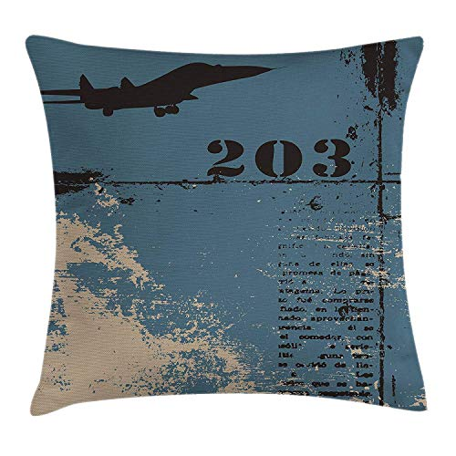 Grunge Throw Pillow Cushion Cover by, Jet Silhouette Flying Military Theme Lettering Typography Vintage Worn, Decorative Square Accent Pillow Case, 18 X 18 Inches, Slate Blue Black Silver - Knit Black Slate