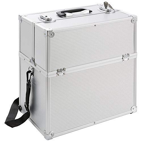 Arebos Kosmetikkoffer Beauty Make-up Case 26 l/Aluminium/Ausziehfäher auf beiden Seiten Silber
