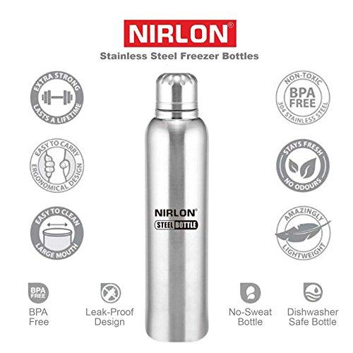 NIRLON Unbreakable Stainless Steel Fridge Water Bottle, 1 Pieces, 1000 ml, Silver