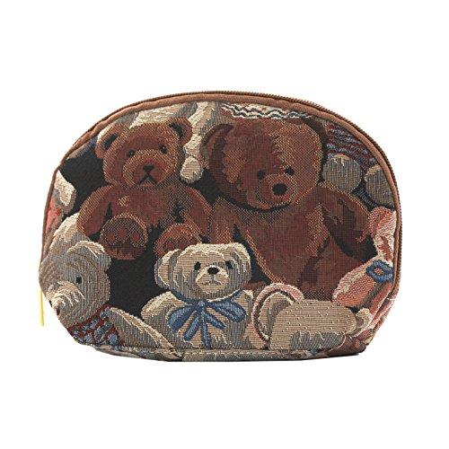 Borsa donna di Signare per il trucco in tessuto stile arazzo alla moda Animali (Coccinelle) Orso