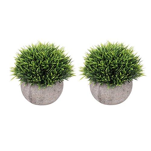 WINOMO 2pcs Mini Plastic Hierba Verde Simulación Plantas Artificiales con Mcetas
