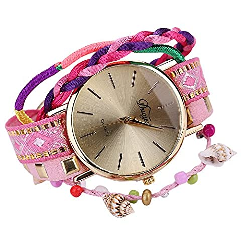 Sanwood Women's Knitted Braided Weaved Rope Band Bracelet Wristwatch (Pink)