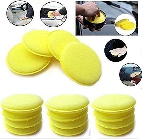 WildAuto - Car Waxing Polish Sponge - Wax Foam Applicator Pads - For Clean Cars Vehicle ,Glass ,Shoes - 12 pcs (Yellow)