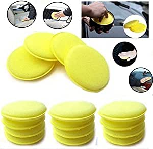 WildAuto - Car Waxing Polish Sponge - Wax Foam Applicator Pads - For Clean Cars Vehicle ,Glass ,Shoes - 12 pcs (Yellow)