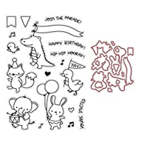 GuanjunLI 1 Set/Cutting Dies+Cartoon Seal Stamp Animal Party DIY Scrapbooking Embossing Photo Album Decorative Paper Card Craft Art Handmade Gift