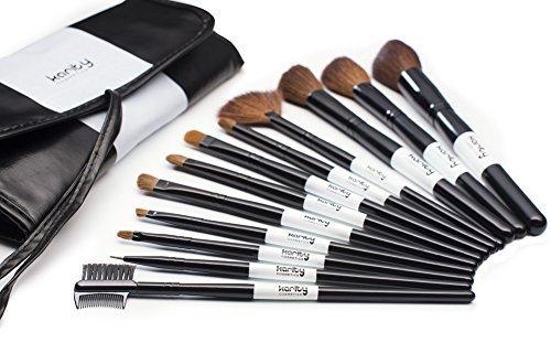 Coffret de 12 Pinceaux de Maquillage et de Cosmétique Naturels de Qualité Studio avec une Pochette Séparée