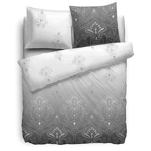 F2F Bettwäsche Demi I Größe 135 x 200cm I Henna Designdruck Indisch Orientalisch I Doubleface I Farbe Grau I 100 Prozent Baumwolle I Reißverschluss