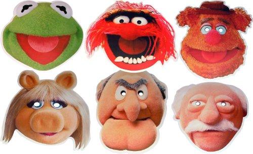 Kostüm Fozzie Für Erwachsenen - Muppets (The Multipack - 6 Gesichtsmasken aus steifen Karten - Tier, Fozzie Bär, Kermit The Frog, Fräulein Piggy, Statler und Waldorf