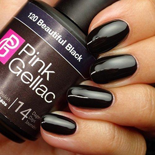 Vernis à ongles Pink Gellac 120 Beautiful Black. 15 ml gel Manucure et Nail Art pour UV LED lampe, top coat résistant shellac