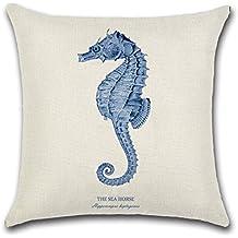 Criaturas marinas estilo fundas de almohada Funda para sofá cama para salón o dormitorio decoración para el hogar, Excelsio personalizado cuadrado lino y algodón almohada fundas de cojín 45x 45cm/18x 18inch