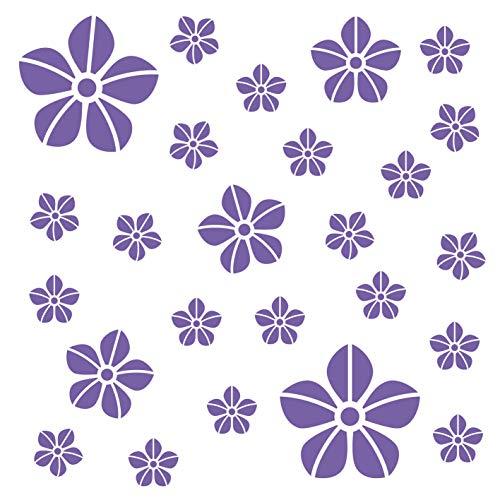 kleb-Drauf® | 25 Blumen | Lila - matt | Autoaufkleber Autosticker Decal Aufkleber Sticker | Auto Car Motorrad Fahrrad Roller Bike | Deko Tuning Stickerbomb Styling Wrapping