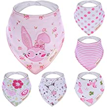 Bebedou rabbit princess Lovely Cotton Embroidered Bandana Bibs 6 Pack newborn gift pack super absorbent drool bibs , baby shower gifts , boys , girls, unisex (pink polka)
