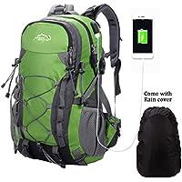 Deporte al aire libre, 40L Viaje Mochila Trekking Senderismo Excursionismo Alpinismo Escalada Camping para Hombre Mujer (Verde_USB)