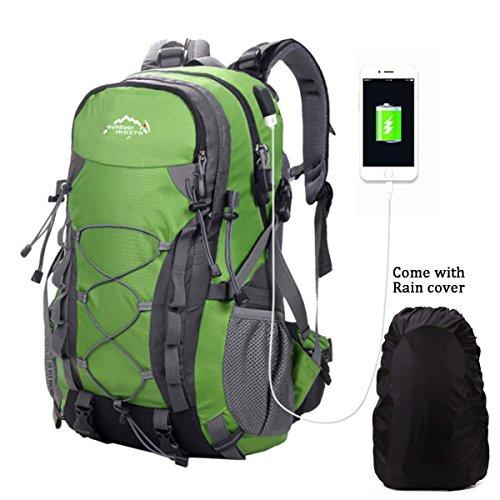 Meisohua Wasserdichter Rucksack 40L Leicht, Erwachsene Wanderrucksack Manner Frauen Outdoorrucksack für Klettern Camping Reiten Reisen Freizeit, für 15.6 Zoll Laptop (USB Grün)