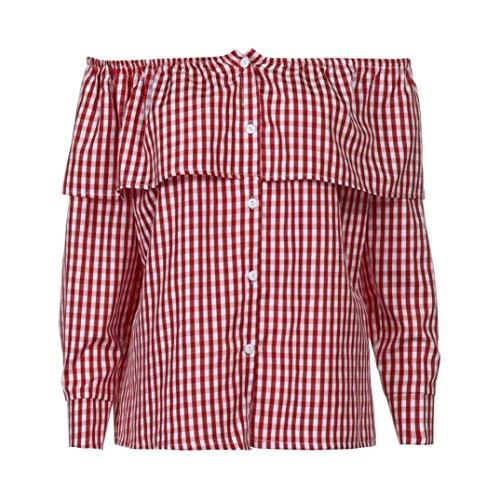 Manadlian T-Shirt Femmes, Femmes Plaid Off Épaule Manches Longues Blouse Chemisier Casual Tops t-Shirt Rouge