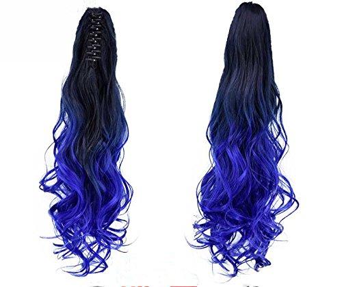55,9 cm lang, gewellt, in/auf Pferdeschwanz Ombre Farbe zwei Tones Clip in Hair Extensions Haarteil (1B/BLUE) -