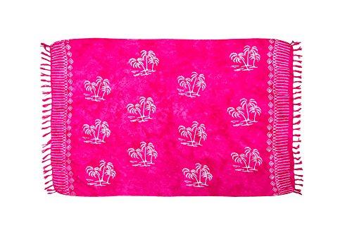 ManuMar Damen Sarong | Pareo Strandtuch | Leichtes Wickeltuch in pink mit Palmen-Motiv mit Fransen-Quasten XXL Übergröße 115x225 cm