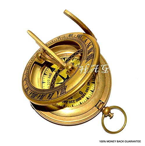 Antiques Maritime Careful Vintage Nautical Collectibles Brass Antique Sundial Compass Christmas Gift
