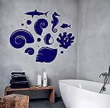 Tianpengyuanshuai Pegatinas de Pared de Vinilo más vendidas Estilo Marino Concha de mar tiburón pez hipocampo Impermeable Arte Mural baño Pegatinas de Pared 61.2 x 50.4 cm