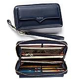 Damen Geldbörse Elegant Leder Wallet Größer Kapazität,Handtasche,Lange Portemonnaie,12 Karten, mit Handschlaufe,Vordertasche Dunkelblau