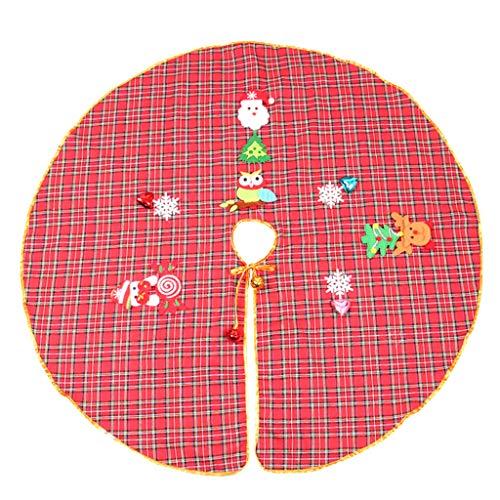 Weihnachtsbaum Decke, Rentier Gedruckt Weihnachtsbaum Rock Dekoration Schneeflocken Weihnachtsbaumdecke Kariert Weihnachtsbaum Röcke Weihnachtsschmuck Weihnachtsbaum Deko Weihnachtsdeko (Rot, 90cm) (Rock Karierte Kreis)