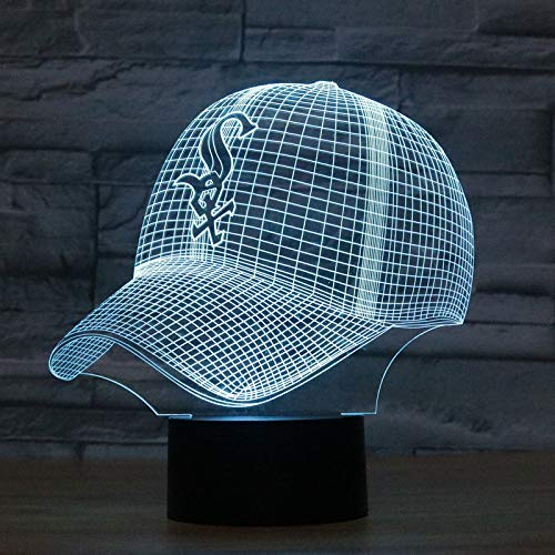 Mode Led 3D Illusion Nachtlicht Chicago White Sox Baseball Team Cap 7 Farbe American Baseball Hat Decor Birne Usb Lampe - Chicago-lampe