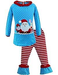 Alvivi Pijamas Navidad Unisex Niña Niña Dos Piezas Conjuntos de Ropa Santa Tops Camiseta Manga Largos +Pantalones Algodón 1-6 años