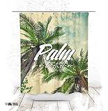 Duschvorhang 150x200cm Textil Design Motiv Palm Beach antischimmel waschbar