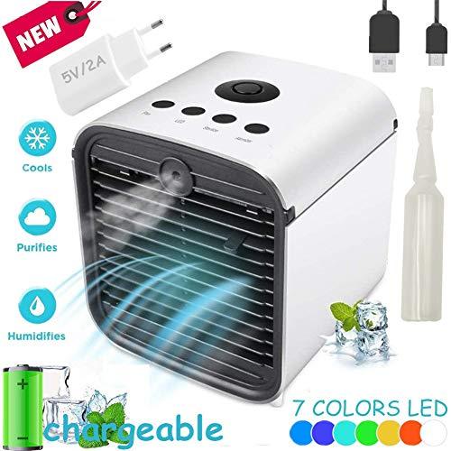 Nifogo Air Portatil Cooler, Climatizador Evaporativo, Aire Acondicionado, 3-en-1 Mini Ventilador Humidificador Purificador de Aire, Leakproof, New Filter Paper