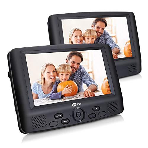 Auto DVD Player 2 9 Zoll Kopfstützen Monitor Tragbarer Ferseher Dual Bildschirm unterstützt SD-Karte und USB mit Halterung KFZ für Kinder Reise