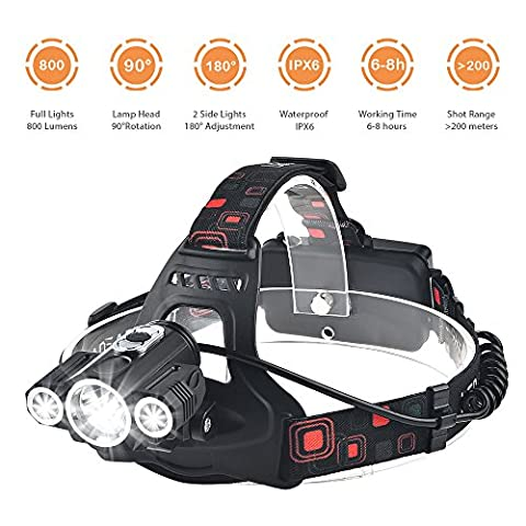Rechargeable LED Head Torch Light with 4 Modes Cree T6 Waterproof Headlamp Headlight Flashlight Hiking Camping Climbing Cycling Fishing Security Light