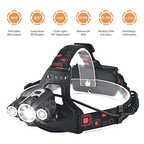 Torcia Frontale 3 LED Cree T6 XPE Lampada da Testa con 4 Modalità 800 Lumen Impermeabile Lampada da Bicicletta con la Batteria Ricaricabile in Bicicletta, Campeggio, Trekking