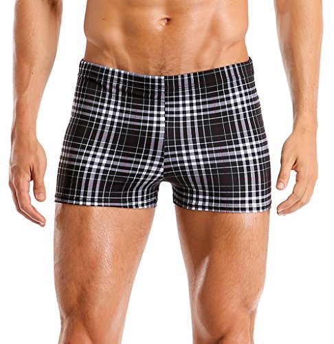 Attraco Men Swim Trunks Swimming Surfing Beach Shorts Solid Black & Plaid Shorts