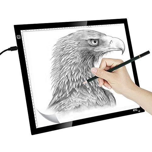 KYG LED Leuchttisch A3 Leuchttablett einstellbare Leuchtpult USB Leuchtplatte dimmbare Helligkeit Handwerk Animations Tattoo Quilting Comic Master Tracer Fotografie 47X37cm