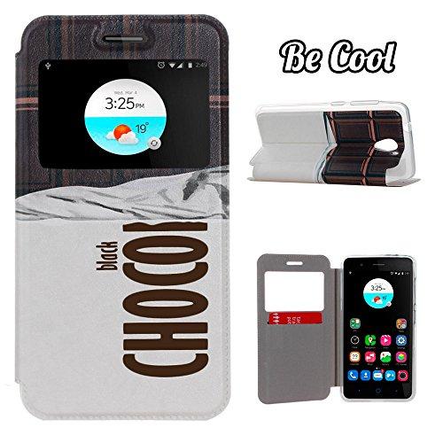 BeCool® - Handy Schutzhülle im Bookstyle mit Standfunktion, ohne Klappe für ZTE Blade A510, mit S-View Fenster, durch das Sie alle Mitteilungen sehen können. schwarzen Schokoladenriegel