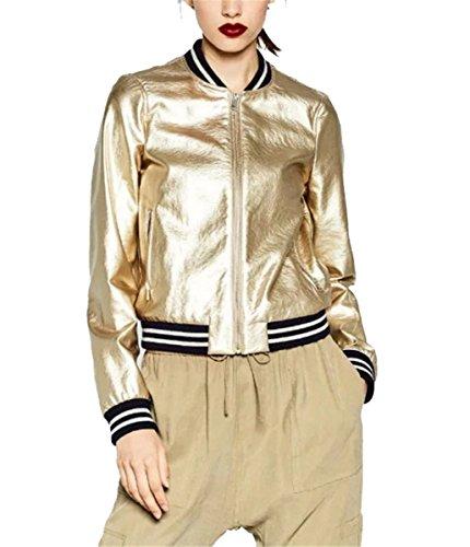 IWFREE Damen Jacke Herbst Bomber Jacke Piloten Baseball Mantel Outwear Tops Coat Bomberjacke Gepolstert Kurz Jacke mit Stehkragen...
