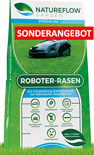 **SONDERANGEBOT** Premium Rasensamen für Mähroboter 10kg – Roboter Grassamen – Schnellkeimend und Vital – Selbstdüngend für pflegeleichten Garten