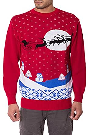 Mens Unisex 70's Jumpers Sweater Retro Christmas Knitwear Top (S, Red Santa Sleigh)